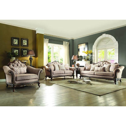Homelegance Bonaventure Park 3 Piece Living Room Set in Brown Chenille