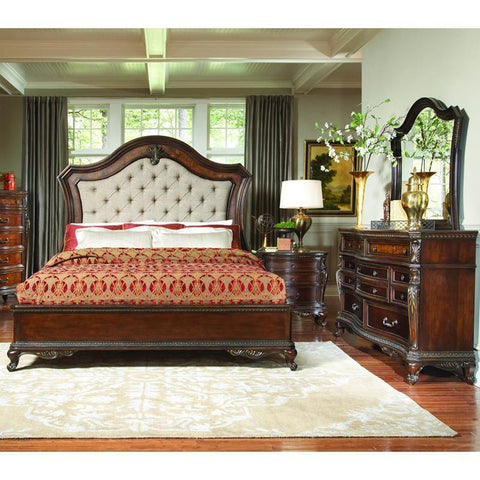 Homelegance Bonaventure Park 3 Piece Platform Bedroom Set w/Upholstered Headboard in Warm Cherry