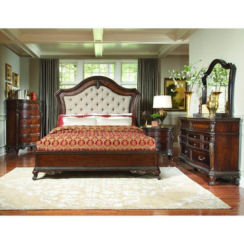 Homelegance Bonaventure Park 4 Piece Platform Bedroom Set w/Upholstered Headboard in Warm Cherry