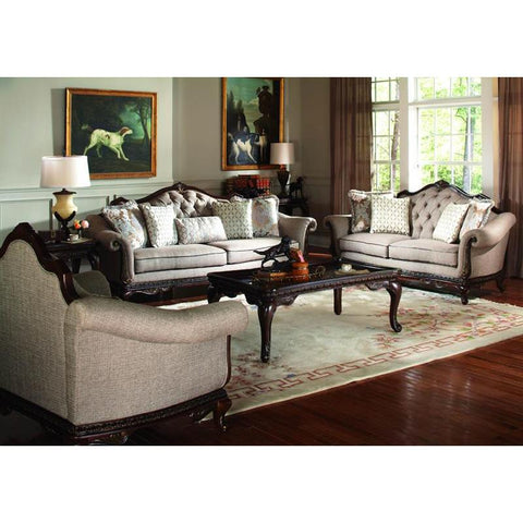 Homelegance Bonaventure Park 6 Piece Living Room Set in Brown Chenille