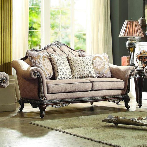 Homelegance Bonaventure Park Loveseat in Brown Chenille