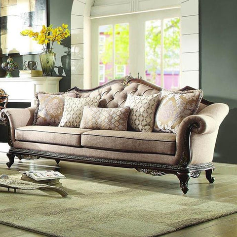 Homelegance Bonaventure Park Sofa in Brown Chenille