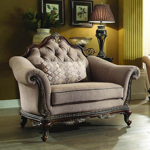 Homelegance Bonaventure Park Upholstered Chair in Brown Chenille