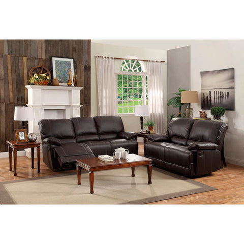 Homelegance Cassville Love Seat & Sofa In Dark Brown Bi-Cast Vinyl
