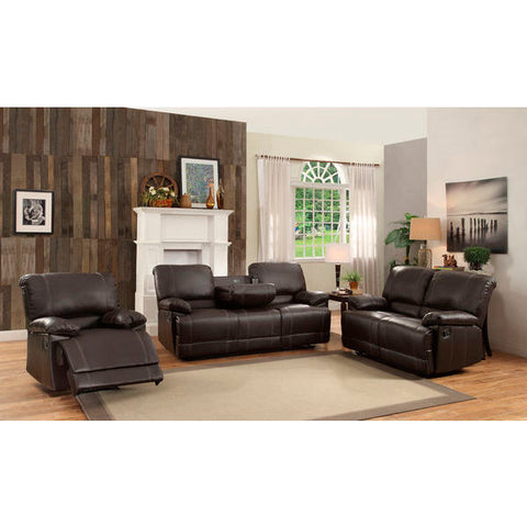 Homelegance Cassville Three Piece Sofa Set In Dark Brown Bi-Cast Vinyl