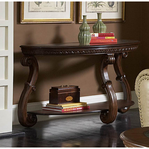 Homelegance Cavendish Half Moon Sofa Table w/ Glass Insert
