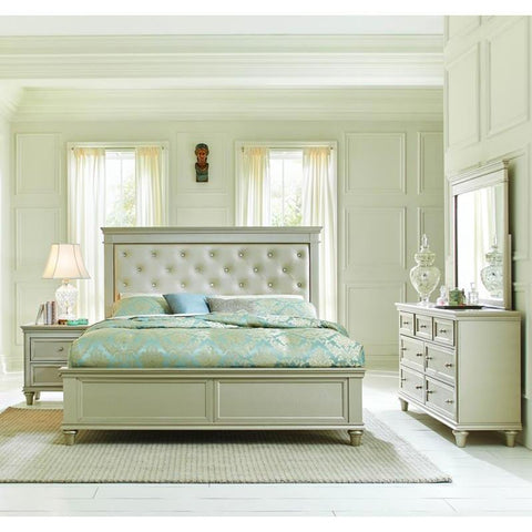 Homelegance Celandine 3 Piece Platform Bedroom Set w/Upholstered Headboard in Silver