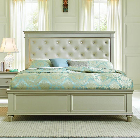 Homelegance Celandine Platform Bed w/Upholstered Headboard in Silver