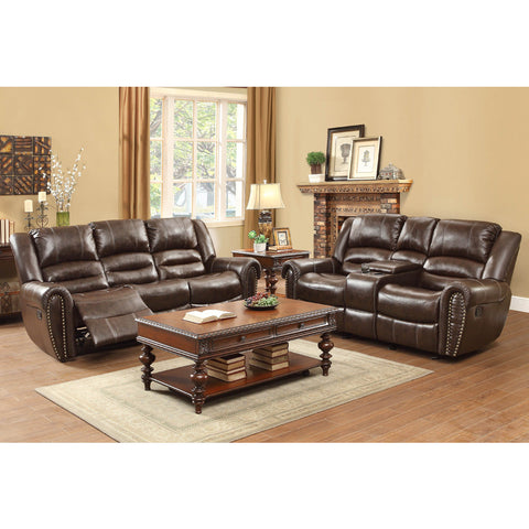 Homelegance Center Hill 2 Piece Living Room Set in Brown Leather