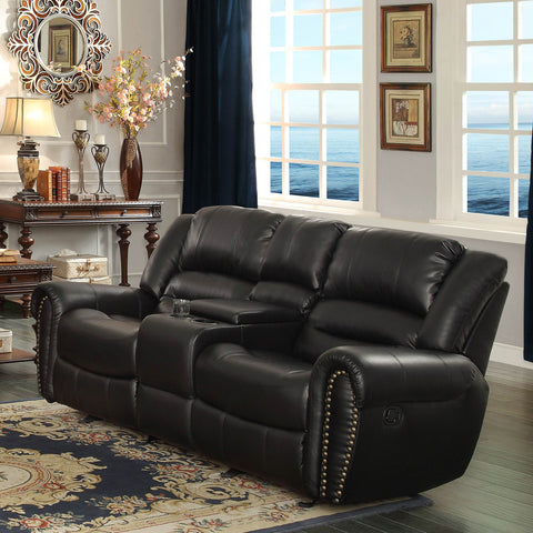Homelegance Center Hill Doble Glider Reclining Loveseat w/ Center Console in Black Leather