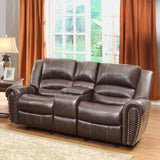 Homelegance Center Hill Doble Glider Reclining Loveseat w/ Center Console in Brown Leather