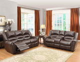 Homelegance Center Hill Double Reclining Sofa in Brown Leather
