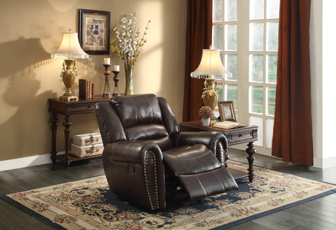 Homelegance Center Hill Glider Reclining Chair in Brown Leather