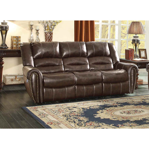 Homelegance Center Hill Power Recliner Sofa In Dark Brown Bonded Leather Match