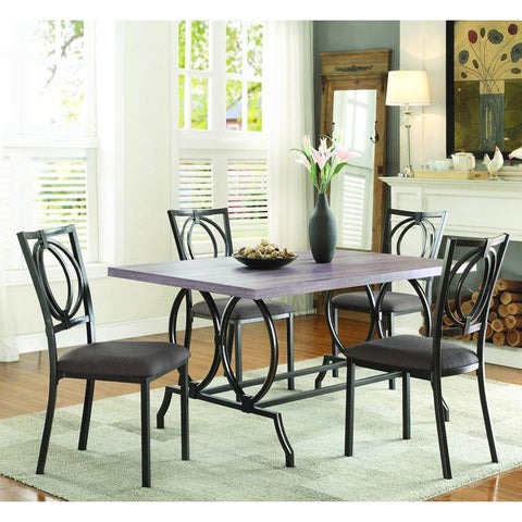 Homelegance Chama 5 Piece Faux Wood Top Dining Room Set in Chocolate Brown