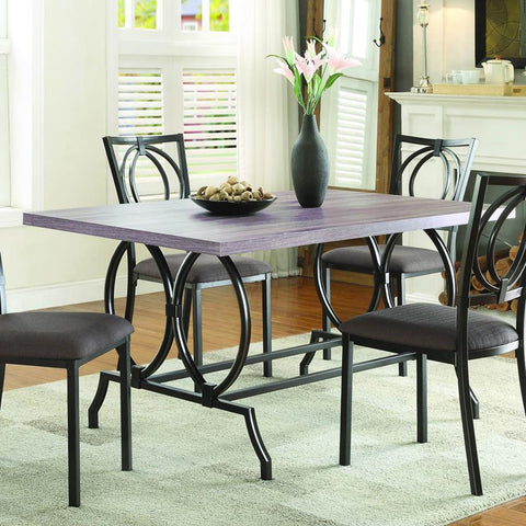 Homelegance Chama Faux Wood Top Dining Table in Chocolate Brown