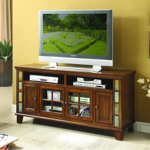 Homelegance Chehalis 60 Inch TV Stand w/Slate Decor in Brown Cherry