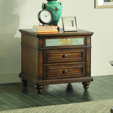 Homelegance Chehalis End Table w/Functional Drawer in Brown Cherry