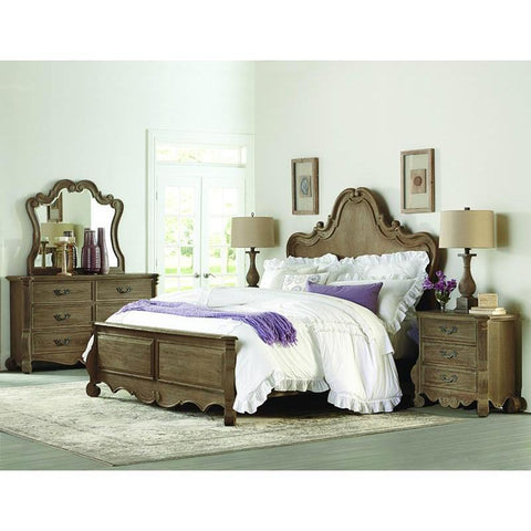 Homelegance Chrysanthe 4 Piece Panel Bedroom Set in Oak