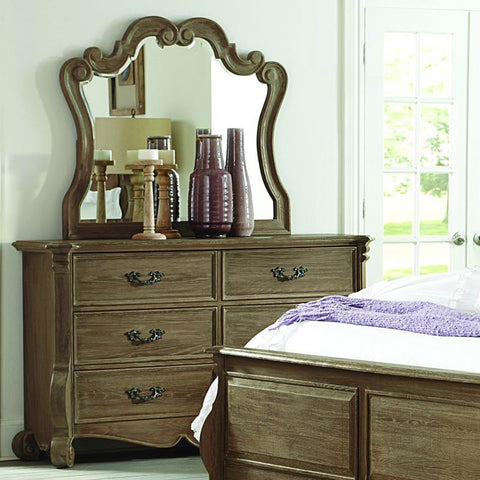 Homelegance Chrysanthe 6 Drawer Dresser & Mirror in Oak