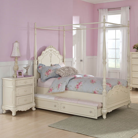 Homelegance Cinderella 2 Piece Canopy Poster Bedroom Set in Antique White