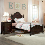 Homelegance Cinderella 3 Drawer Nightstand in Dark Cherry