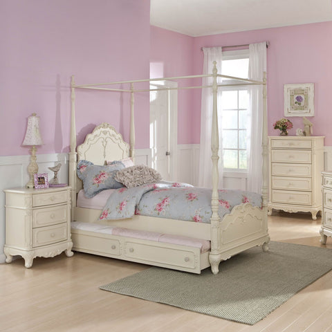 Homelegance Cinderella 3 Piece Canopy Poster Bedroom Set in Antique White