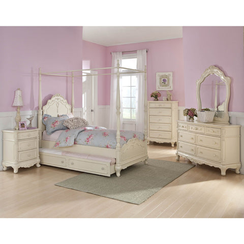 Homelegance Cinderella 5 Piece Canopy Poster Bedroom Set in Antique White