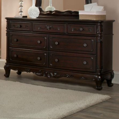 Homelegance Cinderella 7 Drawer Dresser in Dark Cherry