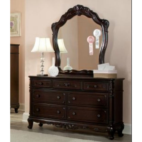 Homelegance Cinderella 7 Drawer Dresser w/ Mirror in Dark Cherry