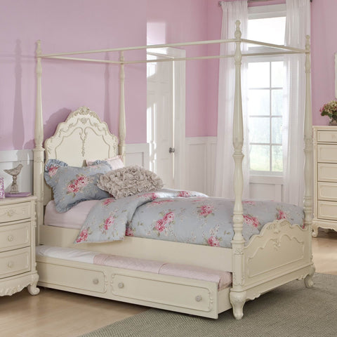 Homelegance Cinderella Canopy Poster Bed in Antique White