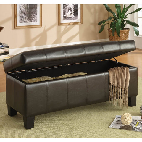 Homelegance Claire Lift Top Storage Bench in Dark Brown