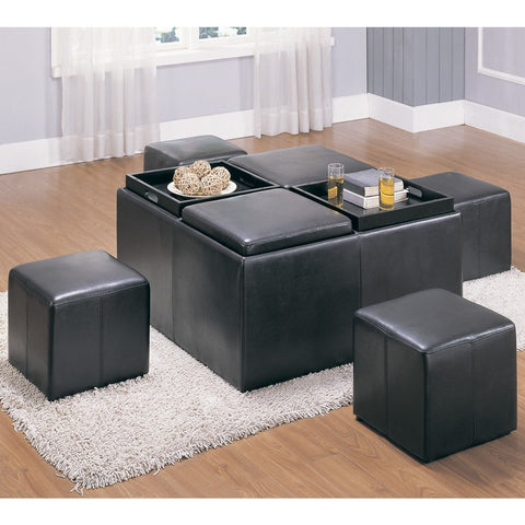 Homelegance Claire Storage Bench w/ 4 Ottomans & Trays