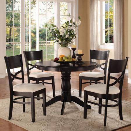 Homelegance Clancy 5 Piece Pedestal Dining Set In Black Finish