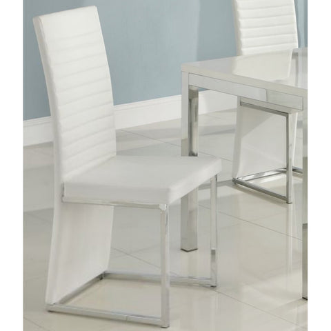 Homelegance Clarice Side Chair w/ Chrome Frame in White PVC