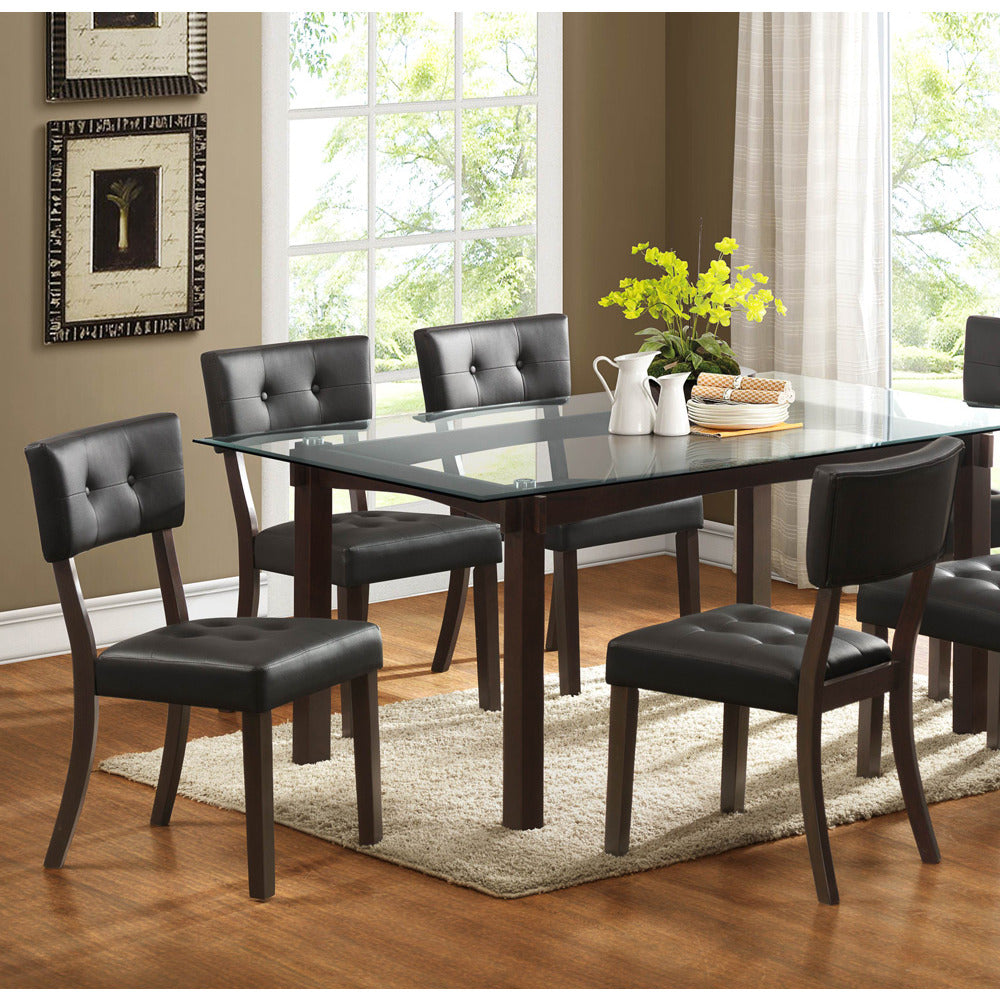 Homelegance Clarity 5 Piece Glass Top Dining Room Set in Espresso