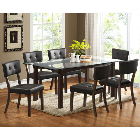 Homelegance Clarity 7 Piece Glass Top Dining Room Set in Espresso