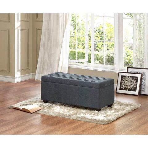 Homelegance Colusa Lift-Top Storage Bench In Grey Fabric
