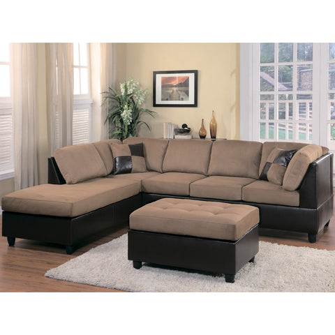 Homelegance Comfort Living Sectional Sofa in Brown & Dark Brown