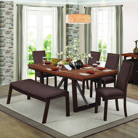 Homelegance Compson 6 Piece Rectangular Dining Room Set in Grain Walnut