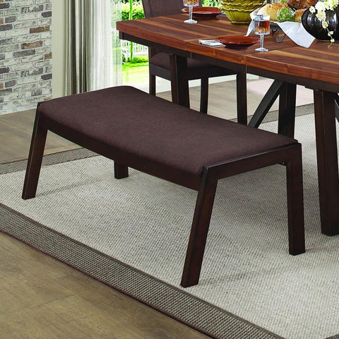 Homelegance Compson 60 Inch Bench in Chocolate Brown Fabric