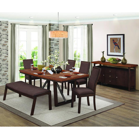Homelegance Compson 7 Piece Rectangular Dining Room Set in Grain Walnut