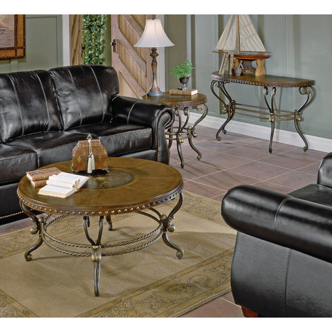 Homelegance Copeland 3 Piece Coffee Table Set w/ Metal Base