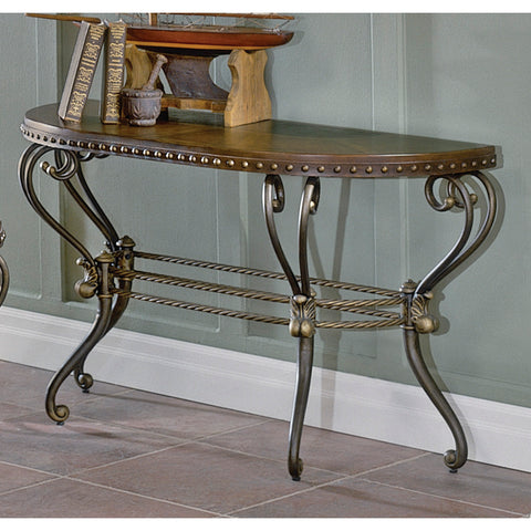 Homelegance Copeland Half Moon Sofa Table w/ Metal Base