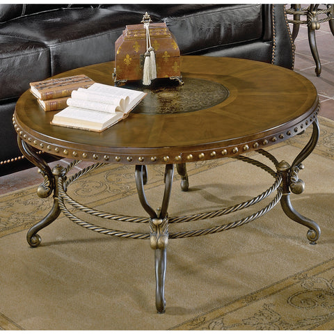 Homelegance Copeland Round Cocktail Table w/ Metal Base