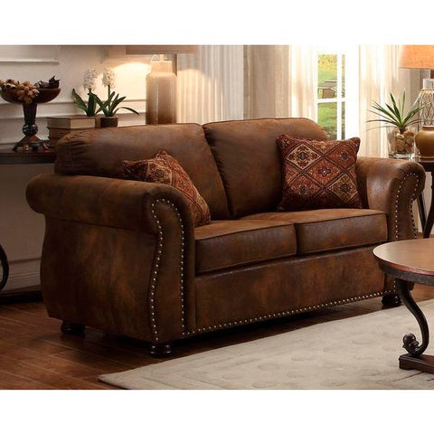 Homelegance Corvallis Love Seat With 2 Pillows In Brown Bomber Jacket Microfiber
