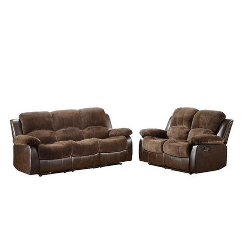 Homelegance Cranley 2 Piece Double Reclining Living Room Set in Brown