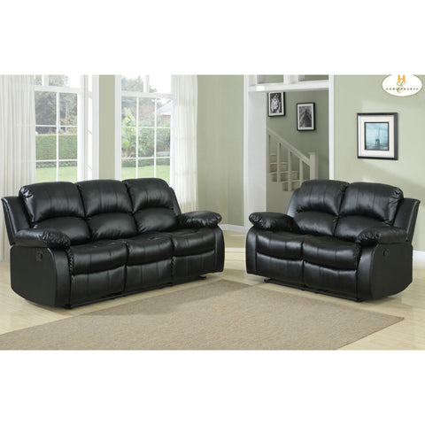 Homelegance Cranley 2 Piece Living Room Set in Black Leather