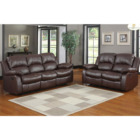 Homelegance Cranley 2 Piece Living Room Set in Brown Leather