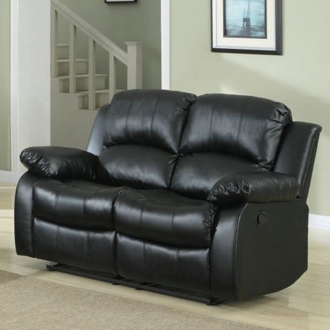 Homelegance Cranley Double Reclining Loveseat in Black Leather